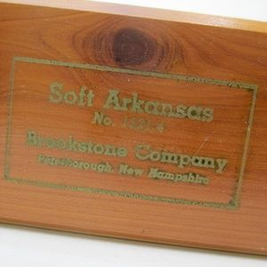 Vintage Arkansas sharpening stone in cedar box